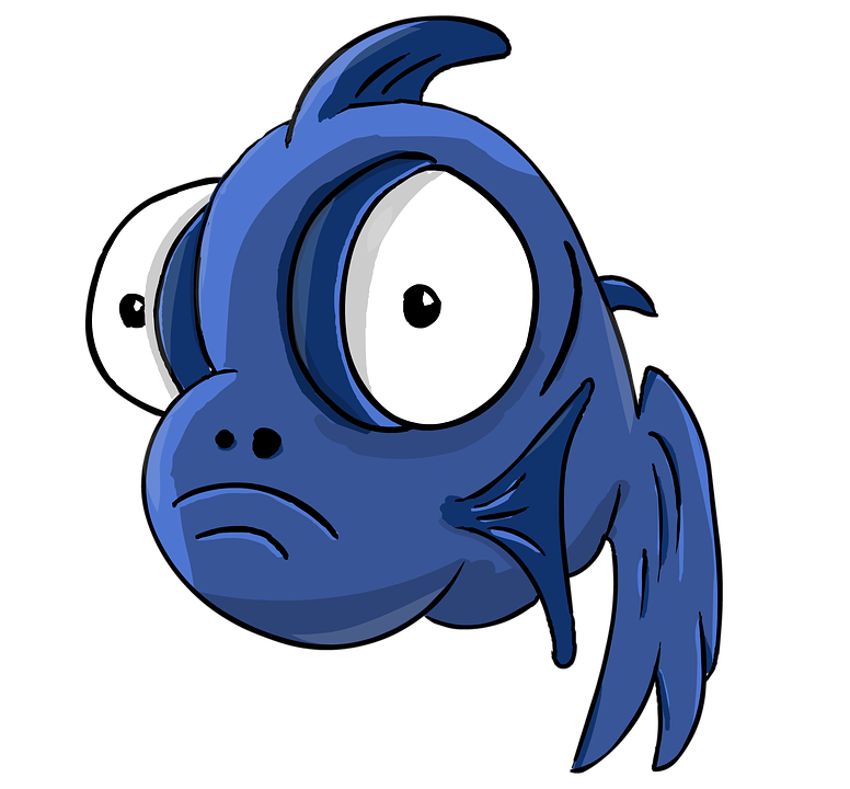 Fish, Fish-telescope, Cartoon, Small Fish, Big Eyes