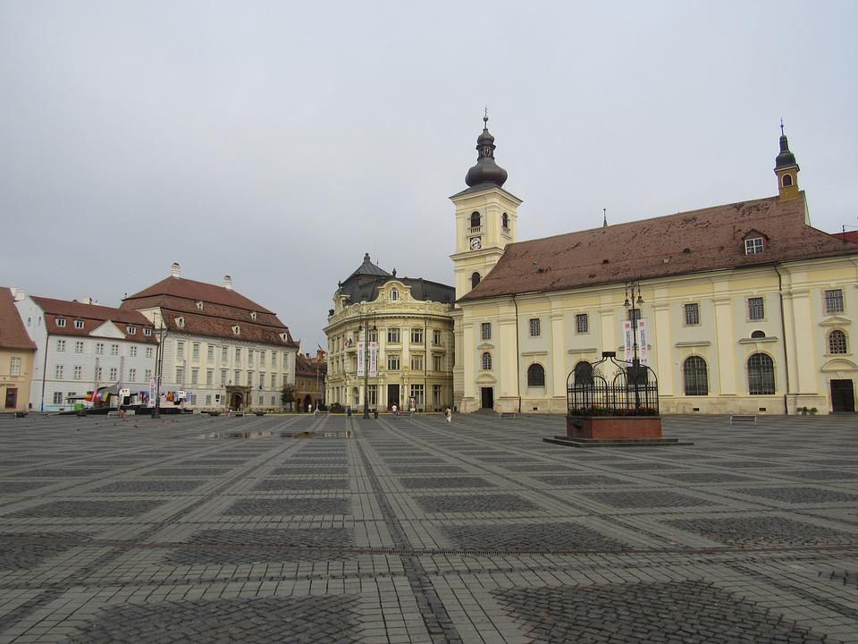 Sibiu, Transylvania, Romania, Big Market, Buildings