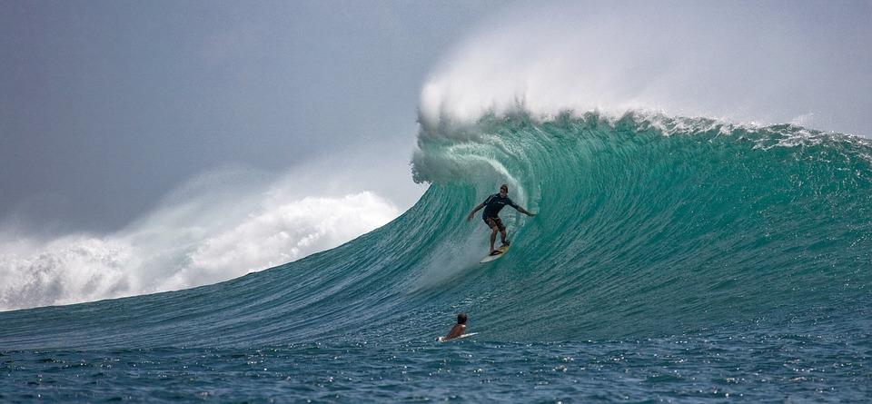 Surfer, Big Waves, Skillfully, Ombak Tujuh Coast