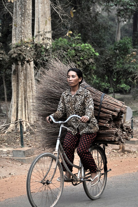 Woman, Bike, Asia, Angkor, Cambodia