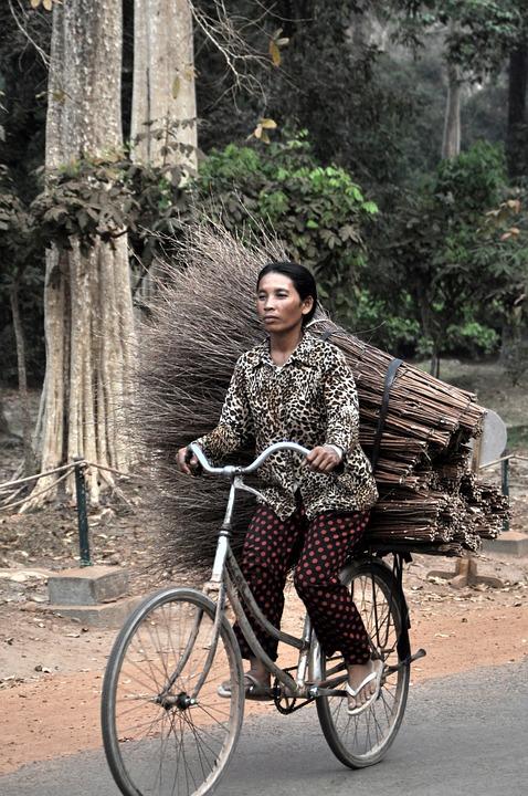 Woman, Bike, Asia, Angkor, Cambodia