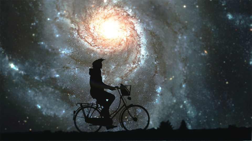 Galaxy, Bike, Bicycle, Pass, Cyclist, Autumn, Forest