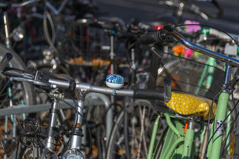 Bike, Blue, Bike Bell, Shiny, Chrome, Handle, Cycling