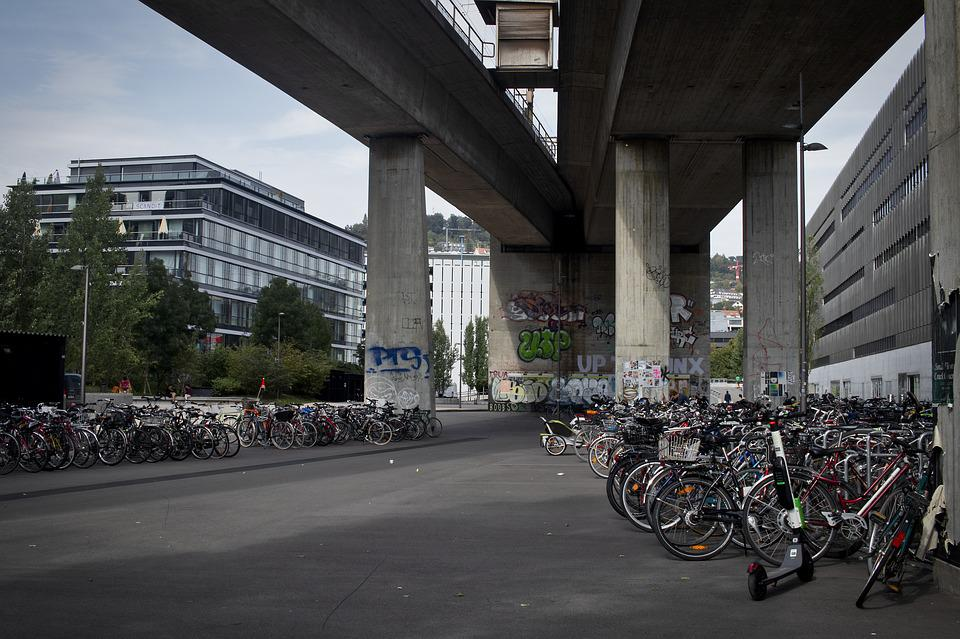 Zurich, Bike, Bridge, Architecture, Road, City, Human