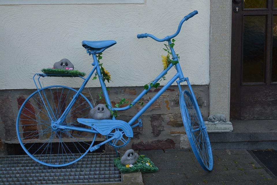 Bike, Blue, Deco, Decoration, Old