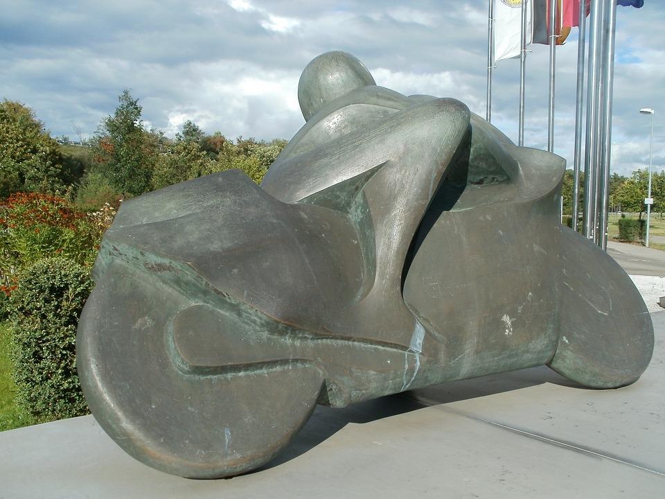 Motorcycle, Driver, Sculpture, Hockenheim, Bike