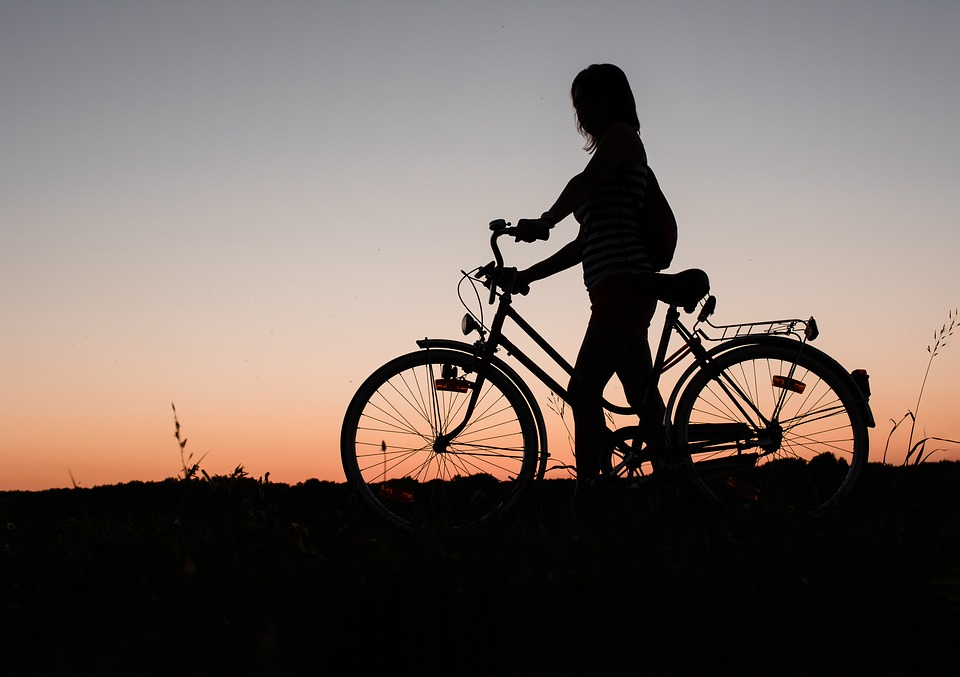 Girl, Bicycle, Bike, Cycling, Sunset, Silhouette, Woman