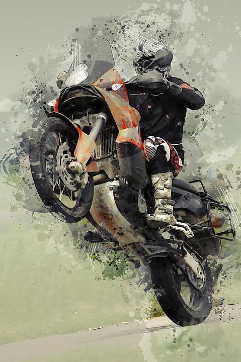 Wheelie, Motorcycle, Bike, Motorbike, Helmet, Transport