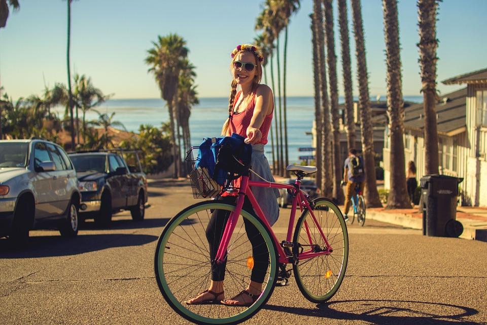 Bicycle, Bike, Cars, City, Cyclist, Girl, Lifestyle