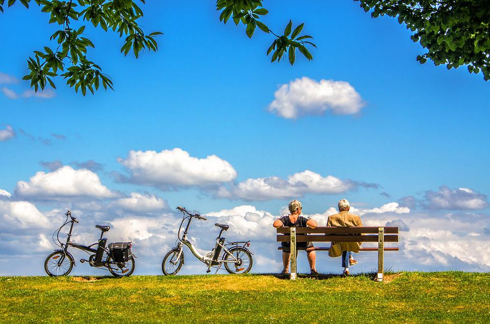 Man, Woman, Bicycle, Bike, Air, Sky, Bench, Rest