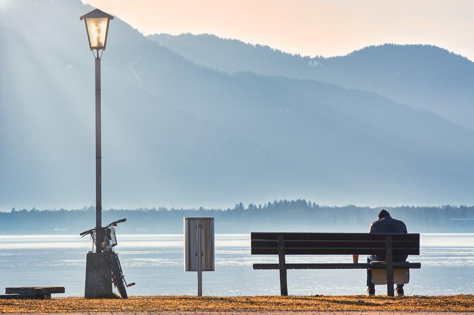 Person, Bench, Lake, Bank, Mountains, Bike, Lantern