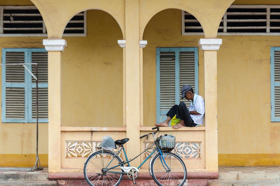 Old Man, Poor, Person, Building, Bike, Bicycle