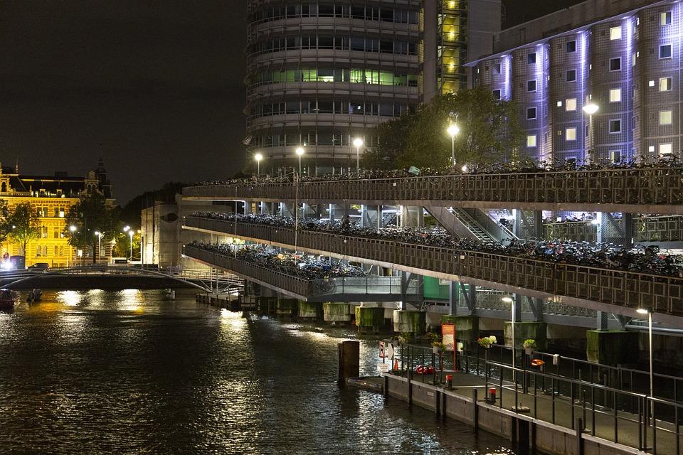 Netherlands, Amsterdam, Bike, Bike Park Place, Night