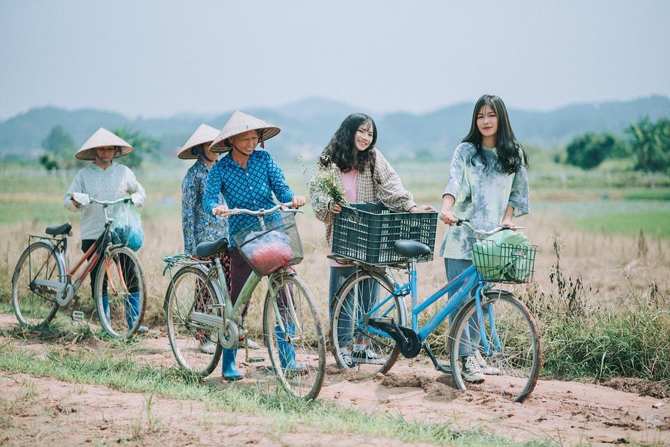Outdoor, Bike, Women, Girl, Woman, People, Together
