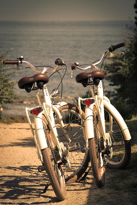 Bike, Couple, Beach, Sand, Sky, Ocean, Noirmoutier