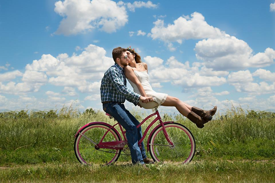 Engagement, Couple, Romance, Bike, Happiness, Together