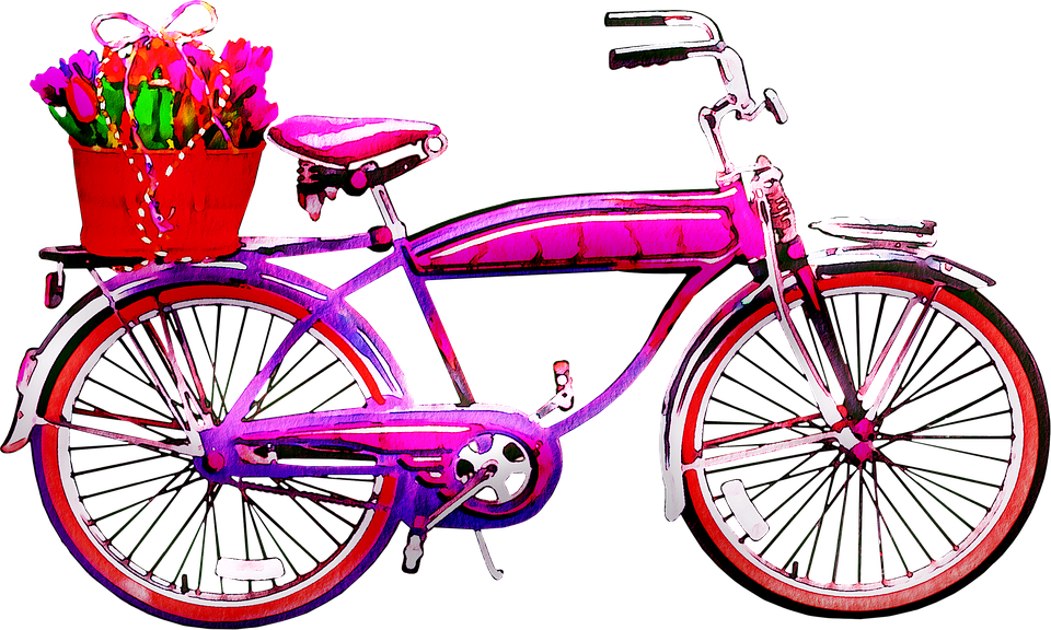 Watercolor Bicycle, Bicycle, Flowers, Bike, Vintage