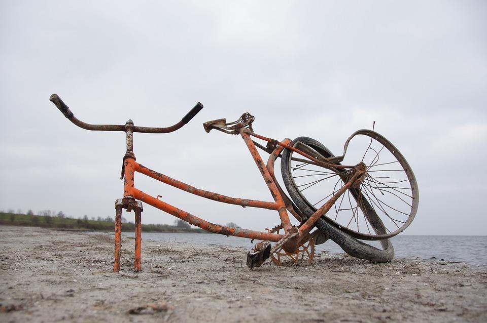 Bike, Beach, Old, Broken, Water, Sea, Nature, Sand