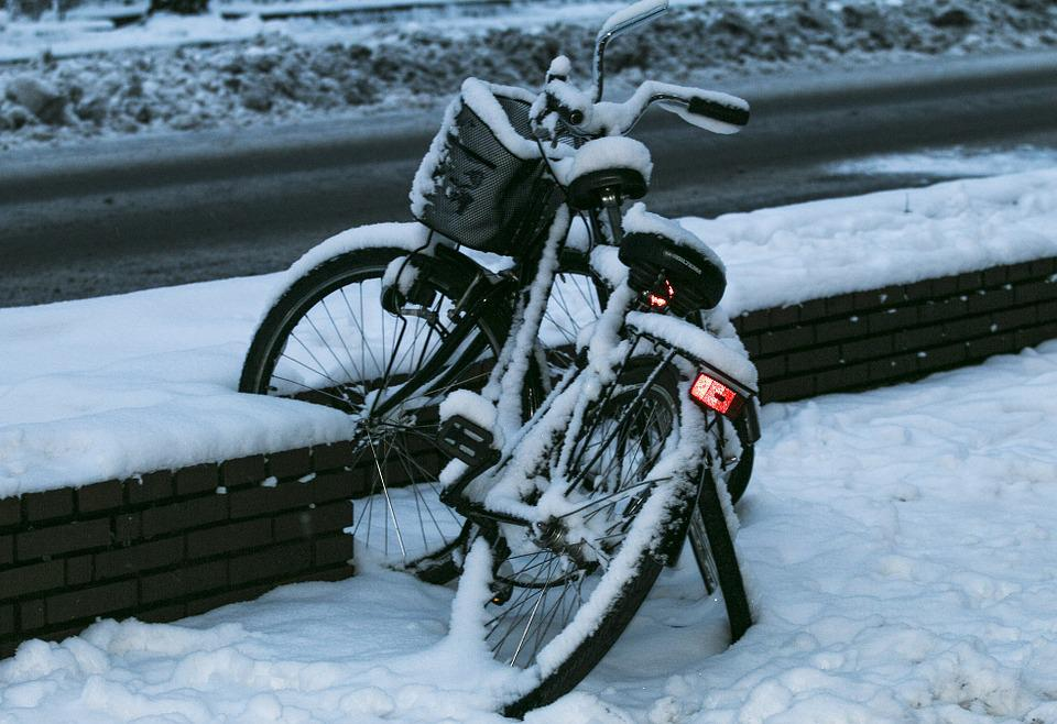 Bike, Winter, Snowed In, Snowy, Cold, Lonely