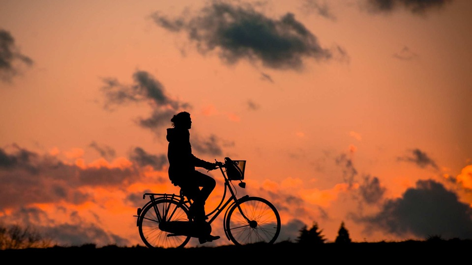 Silhouette, Fitness, Bless You, Bike, Woman, Sporty