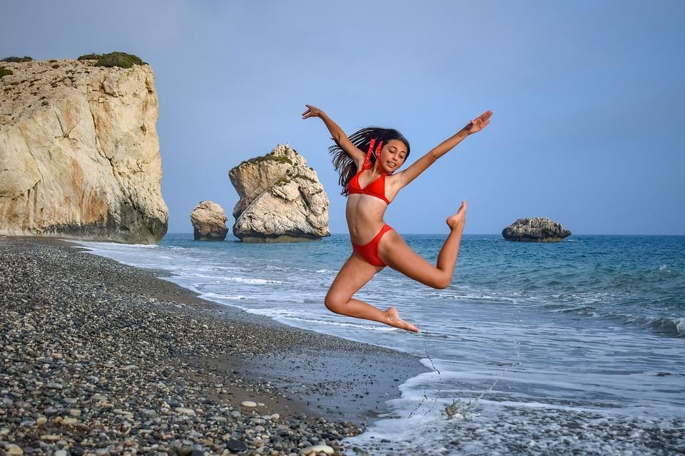 Girl, Beach, Sea, Woman, Bikini, Summer, Happy, Jumping