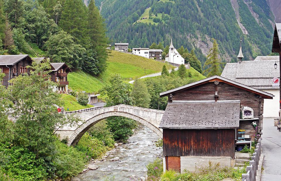 Binntal, Valais, Switzerland, Idyll, Stone Bridge, Binn