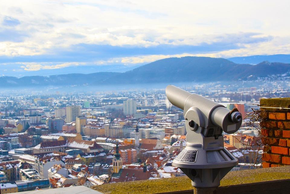 Graz, Binoculars, Look, City, Styria, Austria