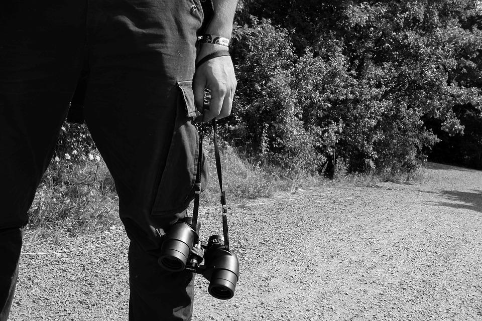 Black White, Human, Legs, Pants, Binoculars, Hand