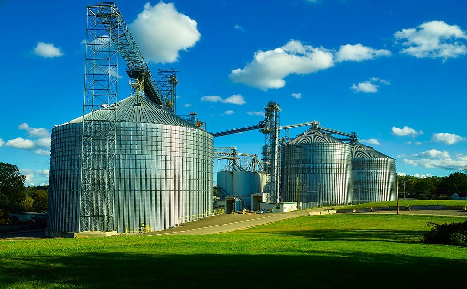 Ohio, Grain, Silos, Bins, Steel, Massive, Large, Farm