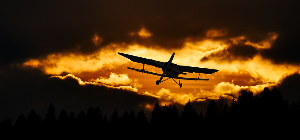 Aircraft, Flight, Sunset, Clouds, Silhouettes, Biplane