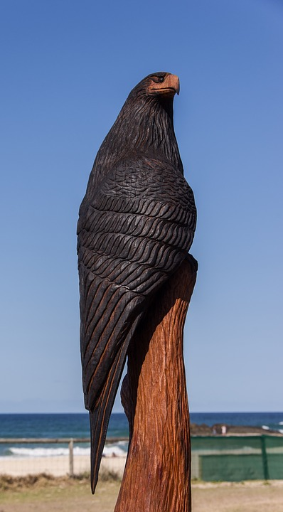 Bird, Raptor, Carving, Wood, Chainsaw, Sculpture, Black