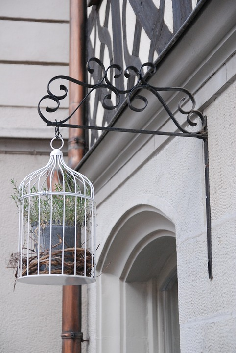 Cage, Bird Cage, Samurai, Plant, Wrought Iron