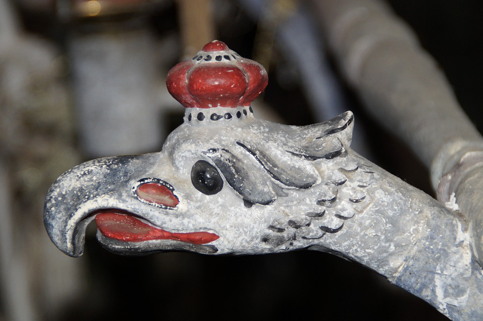 Eagle Head, Carved, Old, Painted, Wood, Bird Head