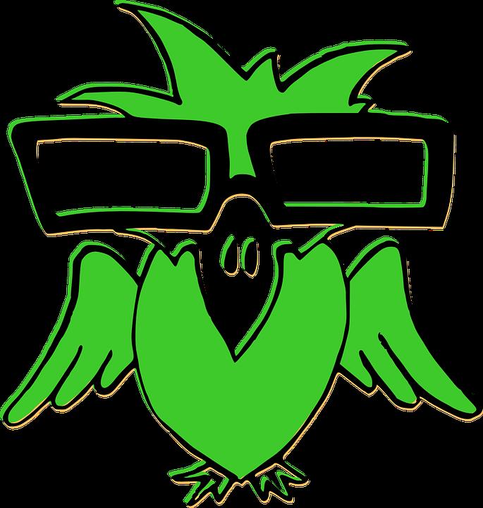 Bird, Green, Glasses, Nerd
