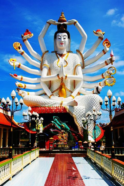 Goddess, Shiva, Thailand, Temple, Blue, Bird, Asia