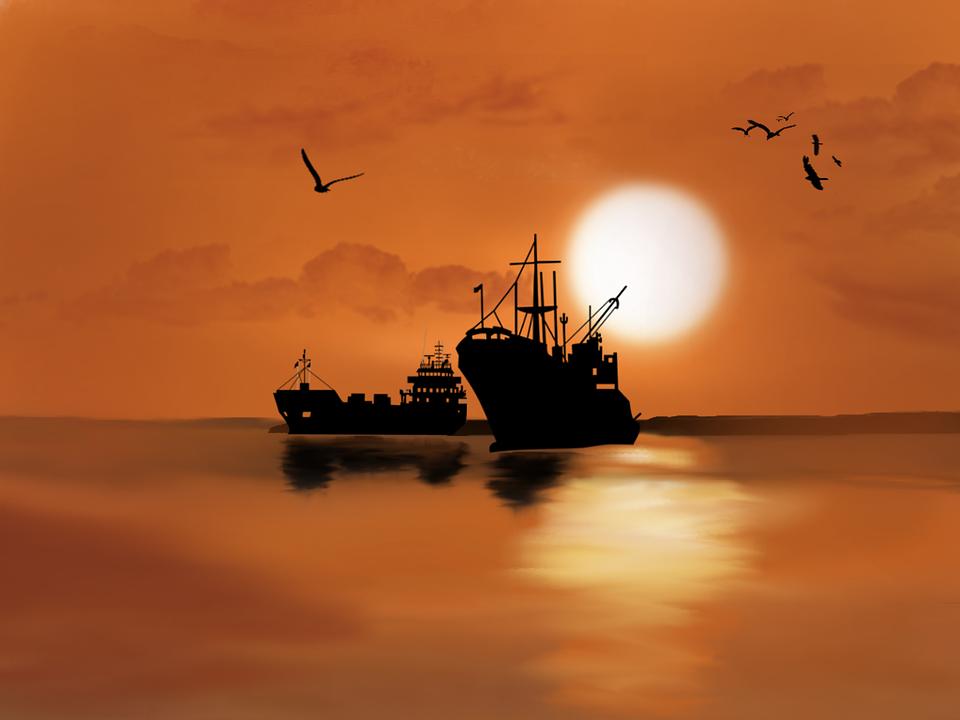 Digital Art, Artwork, Ship, Boats, Sea, Ocean, Birds
