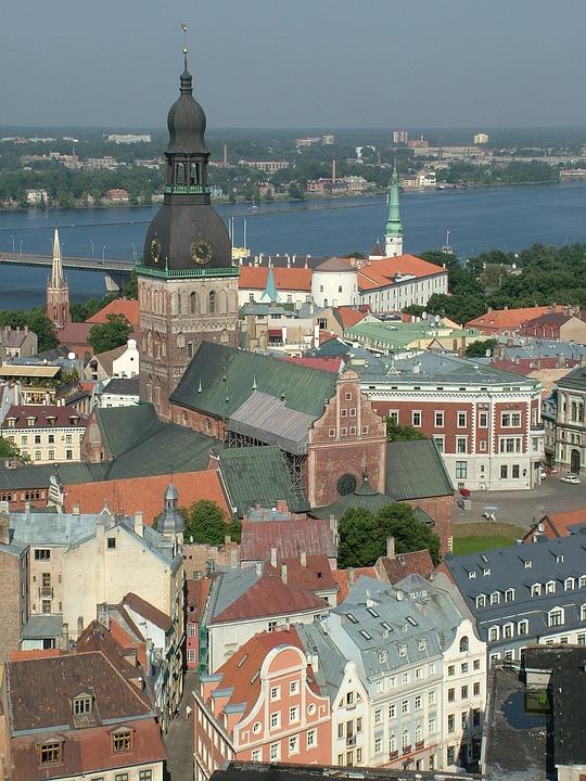 Latvia, Riga, Old Town, Bird's Eye View
