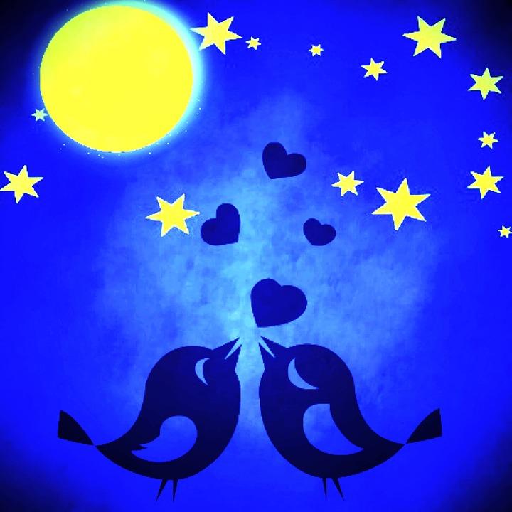 Star, Moon, Birds, Love