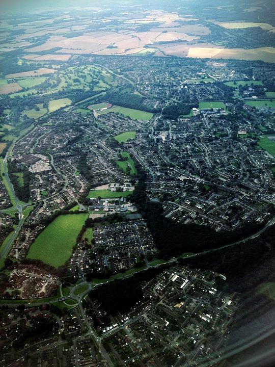 Birdseye, View, Aerial, Travel, Sky, England, Plane