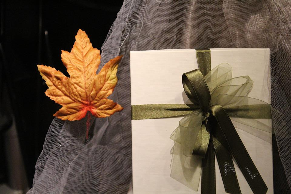 Gift, Leaf, Bow, Birthday