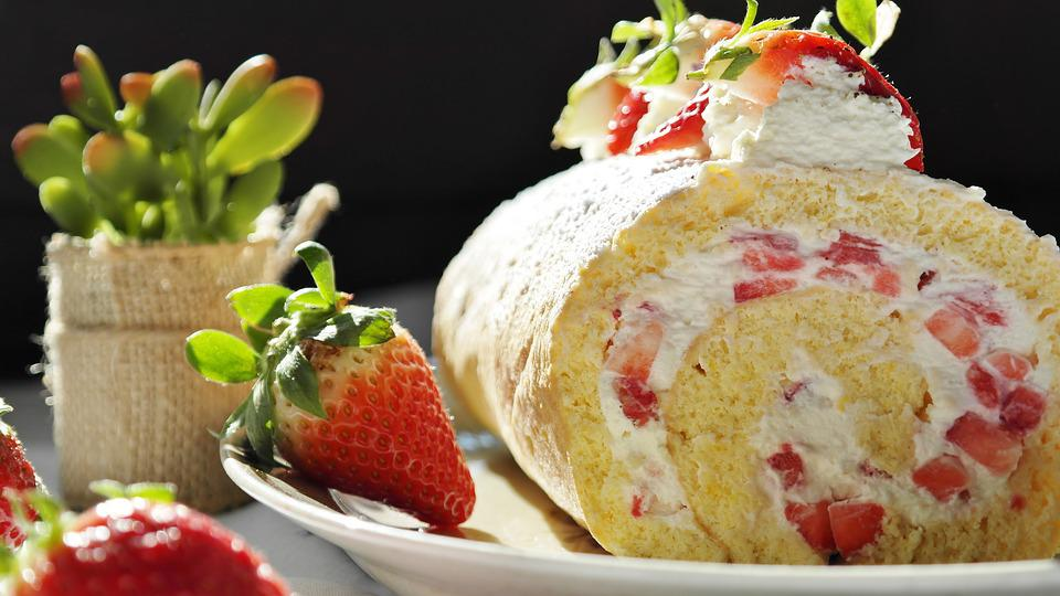 Strawberry, Strawberry Cake, Bisquit, Bisquitrolle