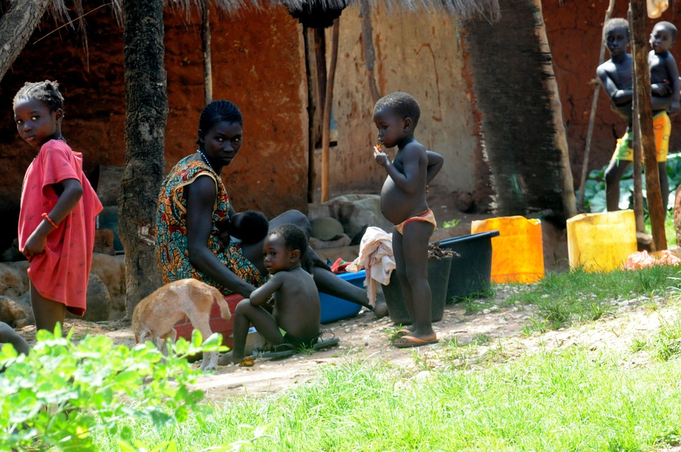 African Family, Bissau, Guinea, Black, African, Poverty