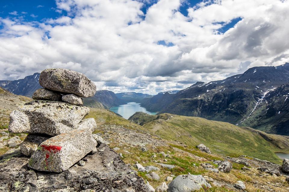 Norge, Fjellet, Himmel, Blå, Vann, Folk, Landskapet
