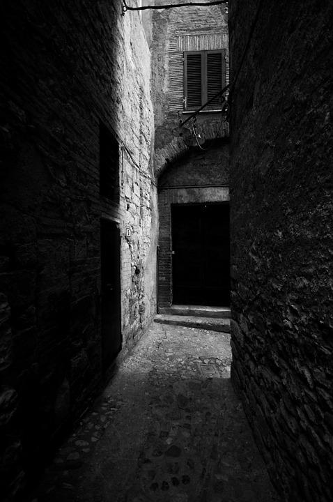 Alley, Black And White, Historical Centre, Light