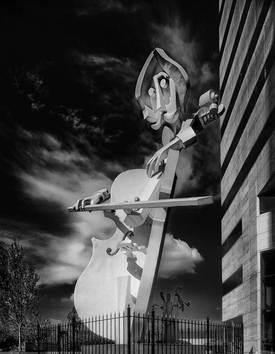 Il Virtuoso, Sculpture, Black And White, Violin, Art