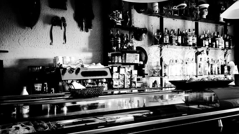 Bar, Restaurant, Black And White