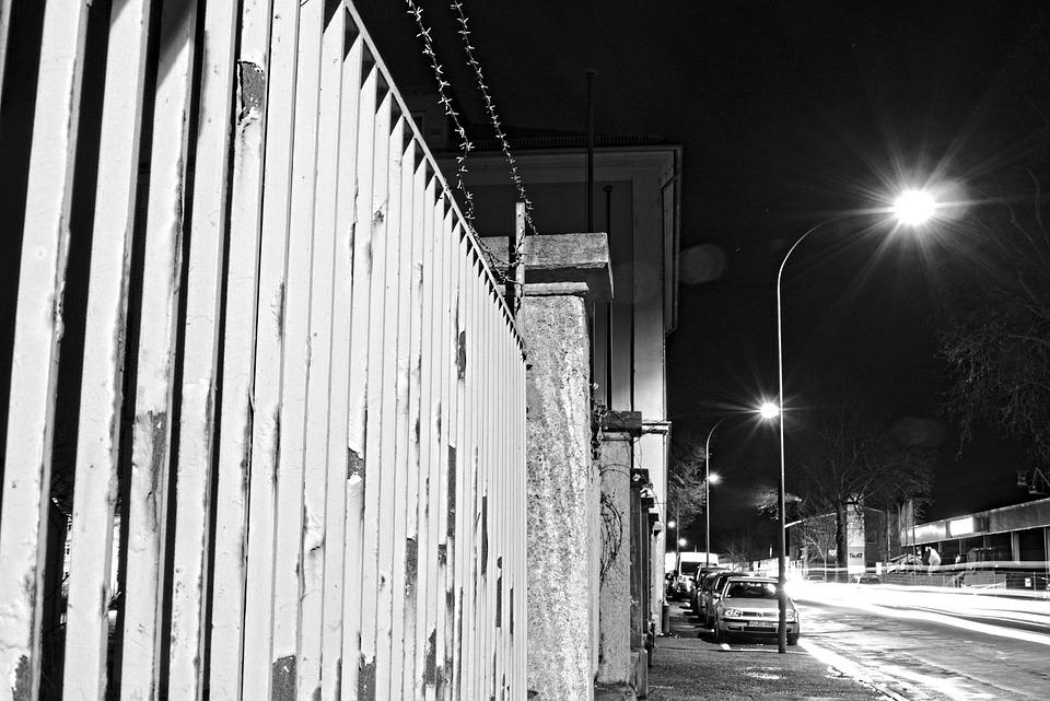 Fence, Barbed Wire, Night, Black And White