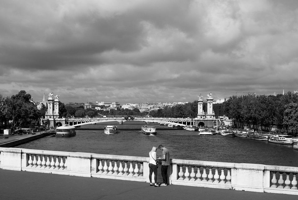 Seine River, Black And White, Paris, Rio, Bridge, Casal