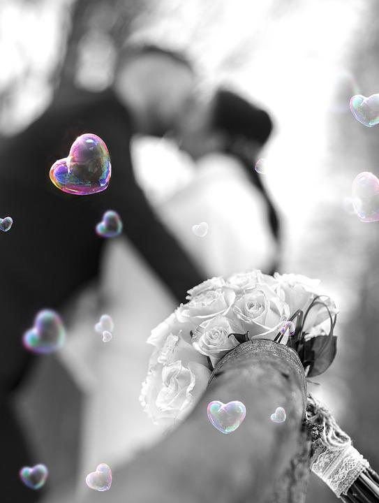 Heart, Bubbles, Flower, Black And White, Coloured