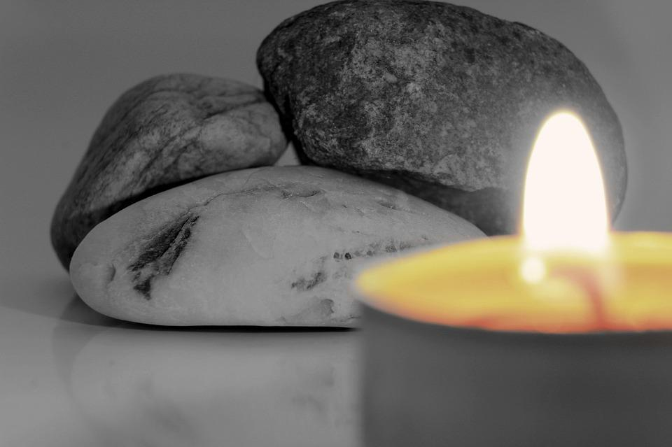 Candle, Stones, Black And White, Flame, Burning Candle